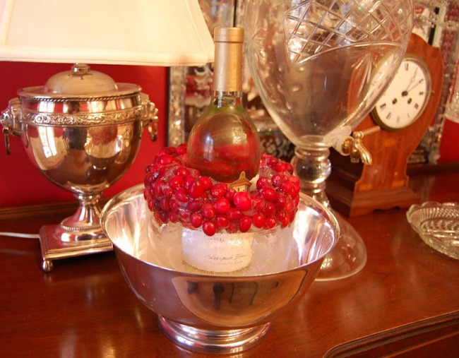 Make a Wine Ice Chiller with Cranberries 6