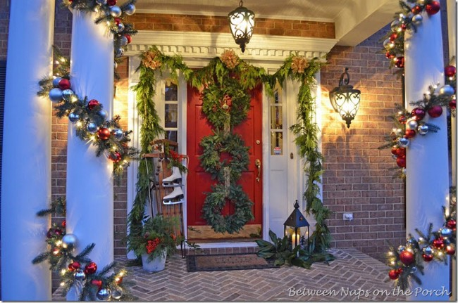 Porch Decorated for Christmas with Garland