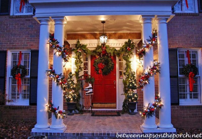 Porch Decorated for Christmas with Pottery Barn (Knockoff) Garland