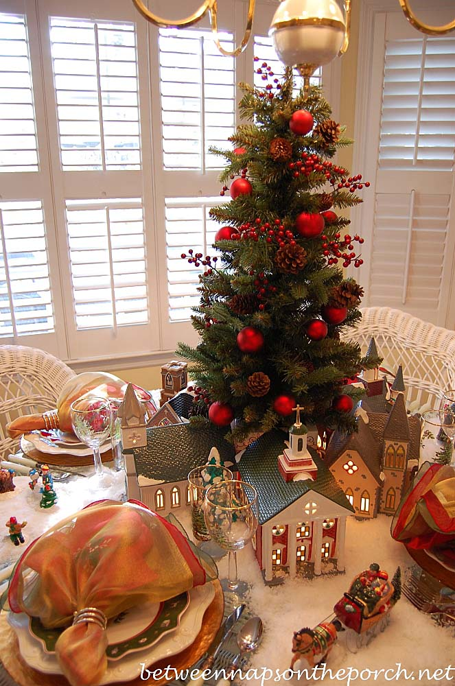 Christmas Table Setting Tablescape with Dept 56 Churches
