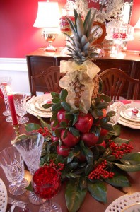 Christmas Tablescape with Apple Tree Cone Centerpiece