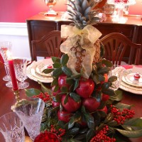 Christmas Table Setting with Apple Tree Centerpiece