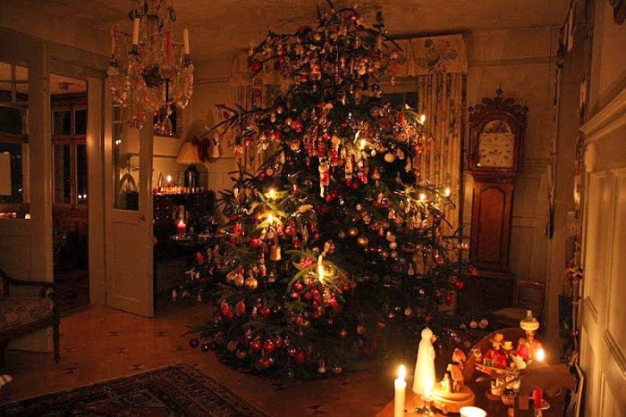 Christmas Tree Illuminated with Real Candles
