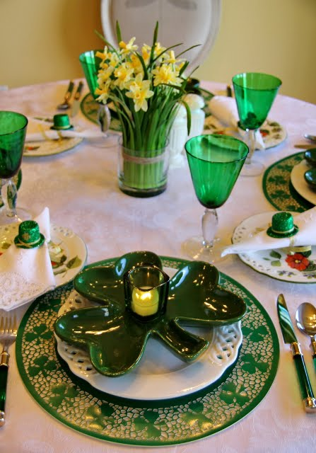 St Patrick S Day Table Setting With Shamrock Plates