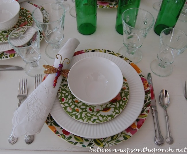 Spring Tablescape with Dragonfly Napkin Rings