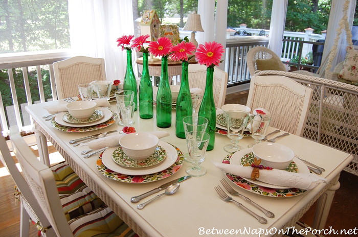 Summer Table Setting With Gerbera Bottle Centerpiece