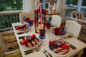 Patriotic 4th of July Table Setting with Flag Dishware