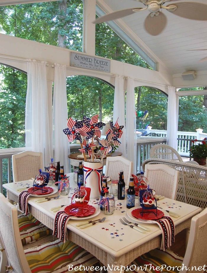 Patriotic Tablescape With PinWheel Centerpiece