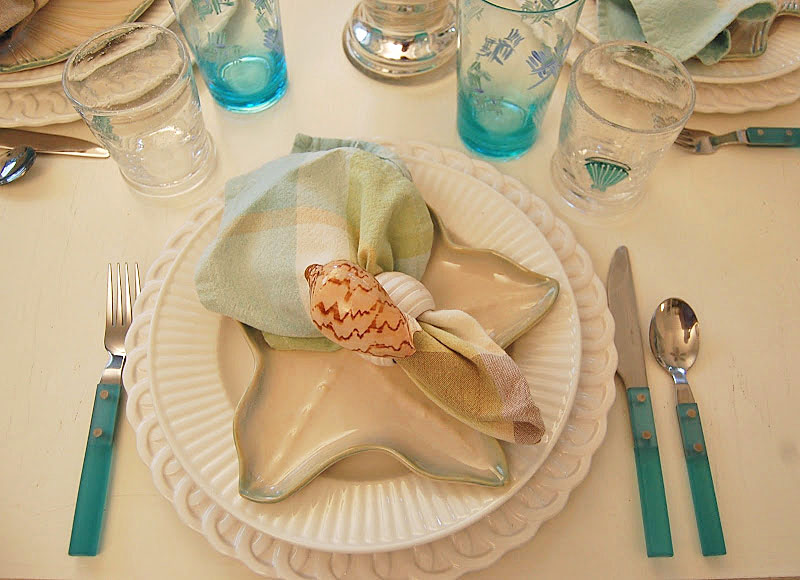 Beach Table Setting, Blue Flatware, Shell Napkin Rings