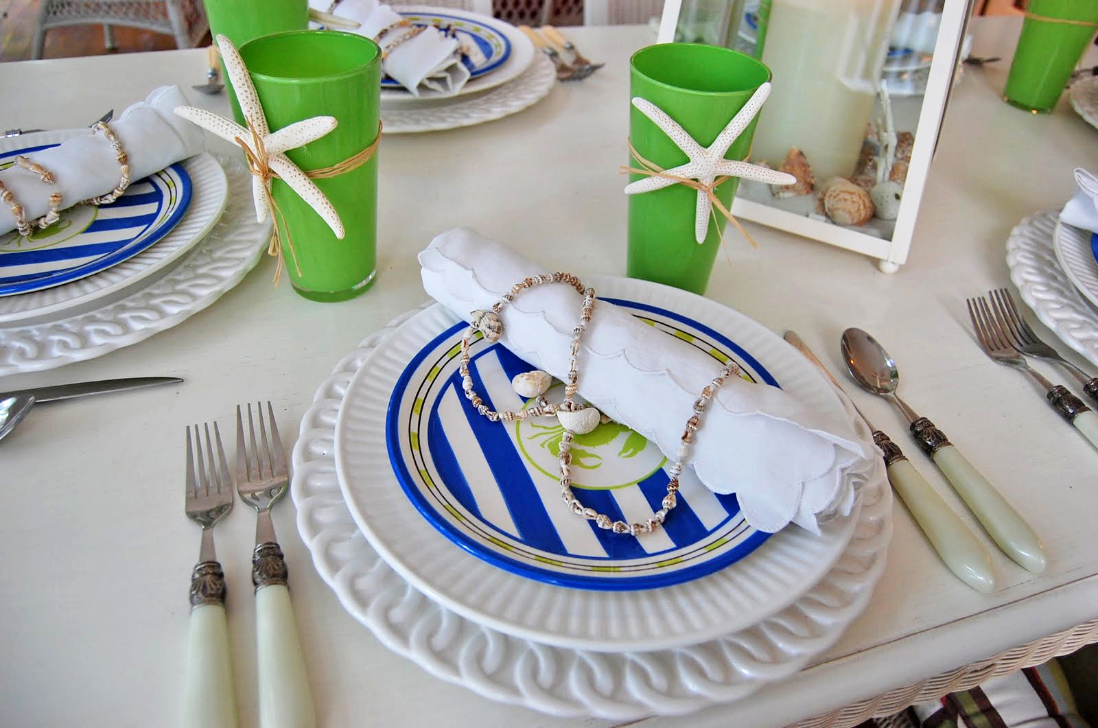 Nautical Table Settings Beach Themed Tablescape Setting With A Lighthouse Style Lantern