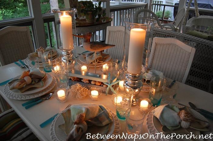 Candlelit Nautical, Beach Themed Table 1