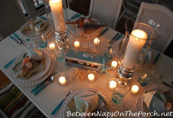 Candlelit Nautical, Beach Themed Table 2