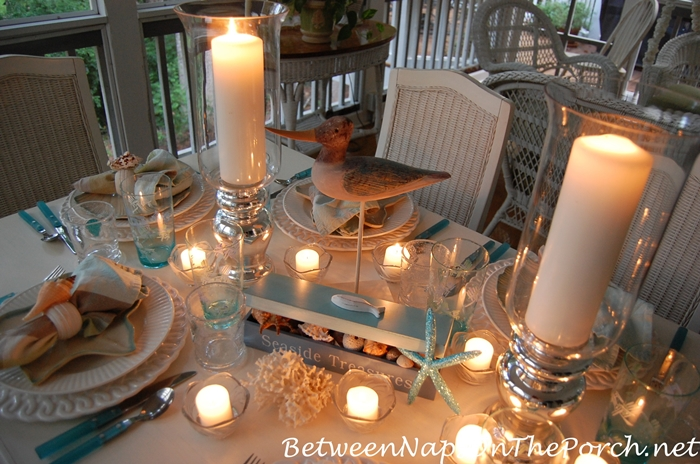Candlelit Nautical, Beach Themed Table 3