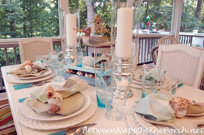 Nautical Table Setting, Silver Candle Holders