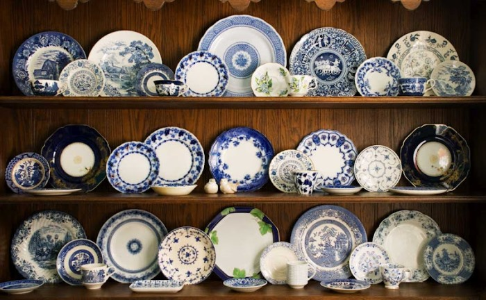 Blue and White Dishes in a Hutch