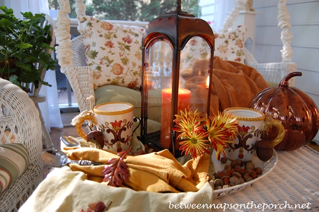 Acorns in a Fall Tablescape with Hot Chocolate on a Fall Porch