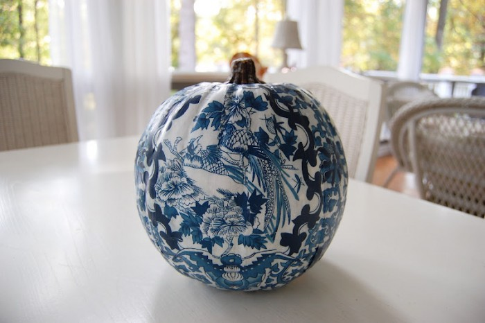 Blue and White Pumpkin for the Guest Room