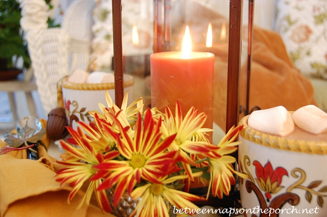 Candlelight in a Fall Table Setting Tablescape
