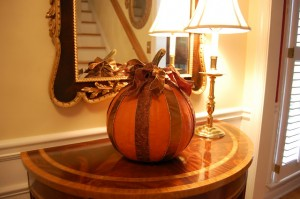 Decorating a Pumpkin with Ribbon for Halloween or Autumn