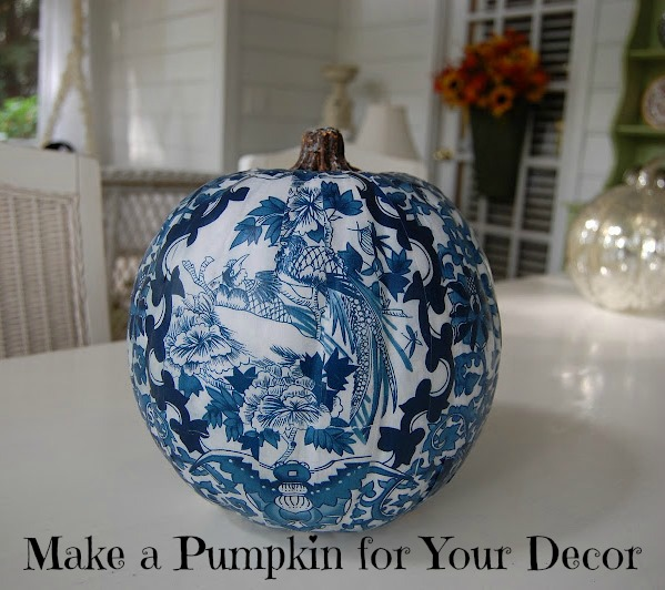 Decoupage a Pumpkin to Coordinate with Your Room or Decor