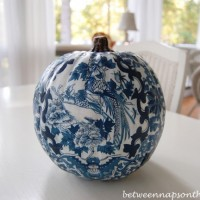 Decoupage a Blue and White Pumpkin