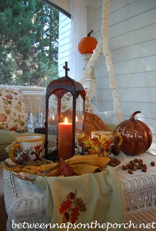 Fall Table Setting Tablescape of Hot Chocolate