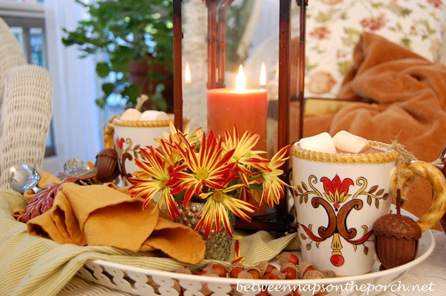 Fall Table Setting with Hot Cocoa on a White Tray