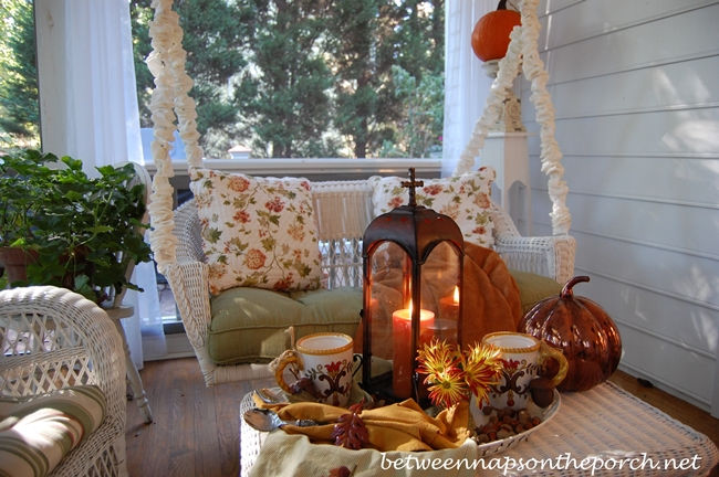 Fall Tablescape with Hot Chocolate on a Fall Porch