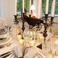 Halloween Tablescape with Mercury Glass Centerpiece