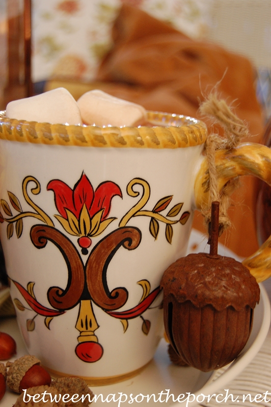 Serving Hot Chocolate in a Fall Mug