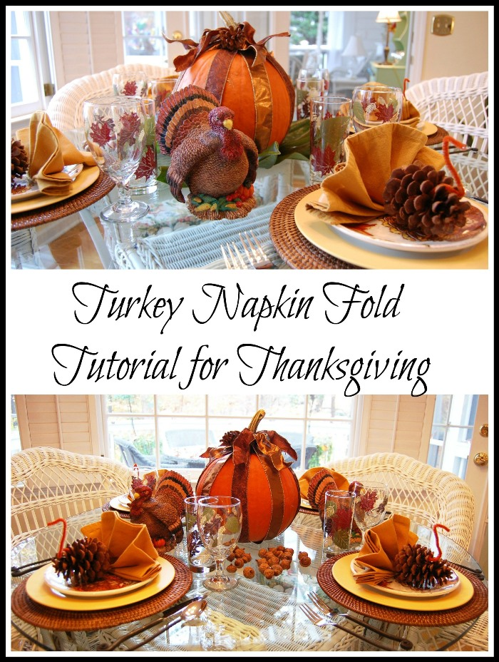 Turkey Napkin Fold for Thanksgiving Table Setting