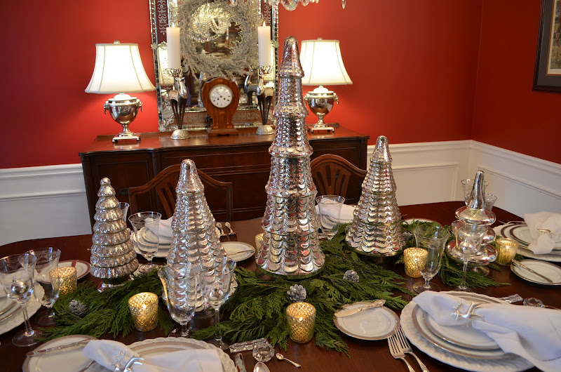 A Mercury Glass Christmas Tree Table Setting Tablescape