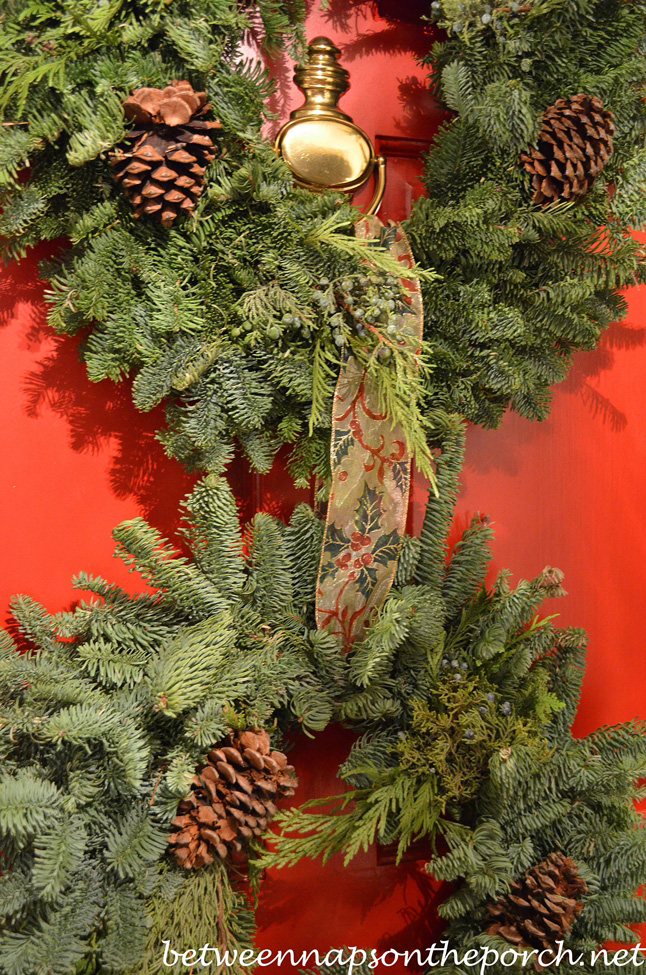 Christmas Door Decorated with 3 Wreaths