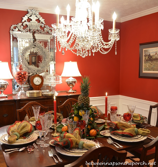 Williamsburg Christmas Decorating Ideas: Colonial Williamsburg Christmas Table Setting With A Lemon