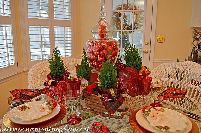 Christmas Table Setting with Sleigh Centerpiece