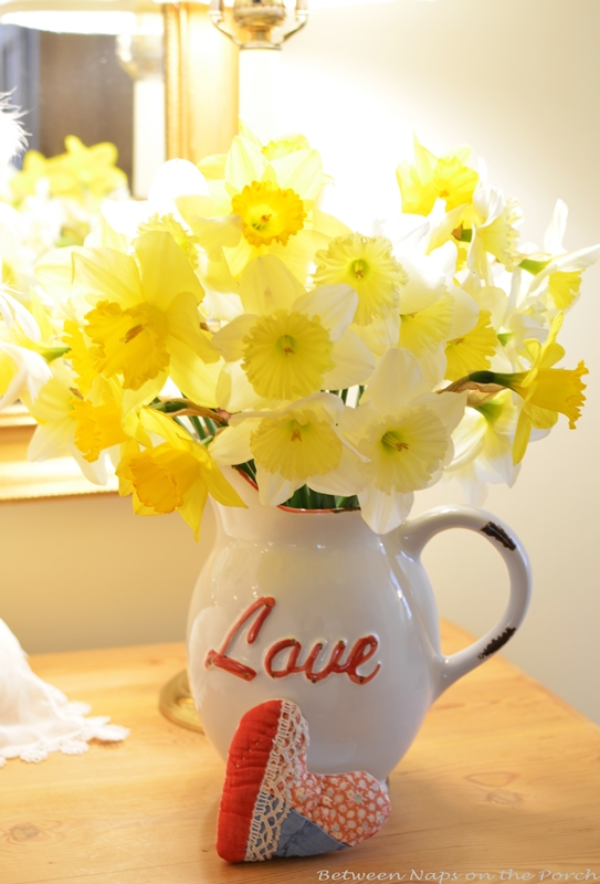 Daffodils in Vase for Valentine's Day Decorating