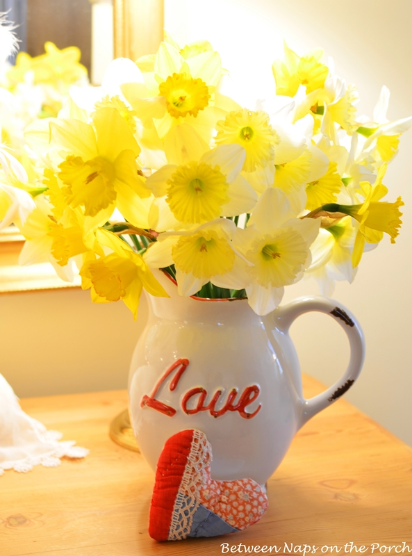 Daffodils in a Love Pitcher for Valentine's Day