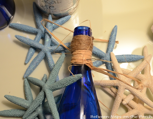 Decorate Bottles with Starfish, Shells and Rafia
