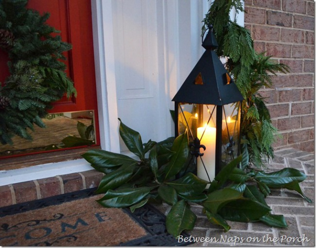 Lantern on Front Porch with Magnolia Leaves