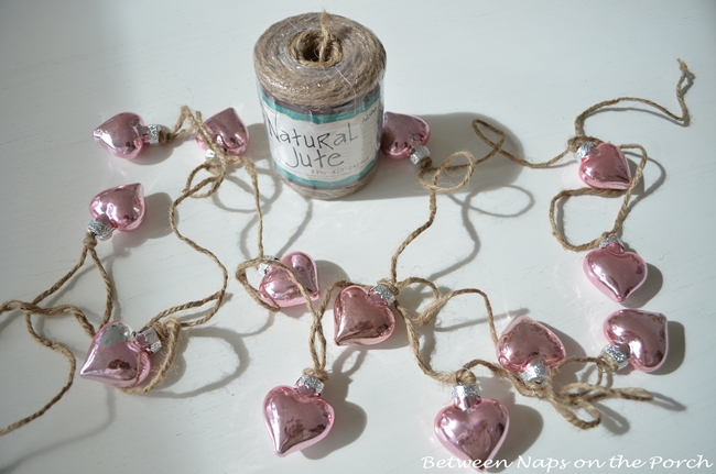 Pink Mercury Glass Heart Garland