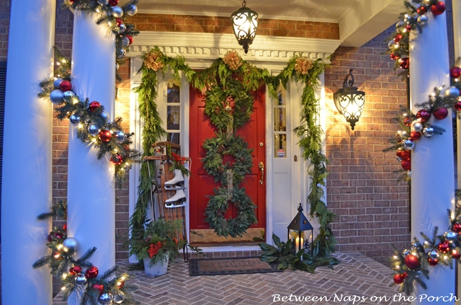 Porch Decorated for Christmas 2
