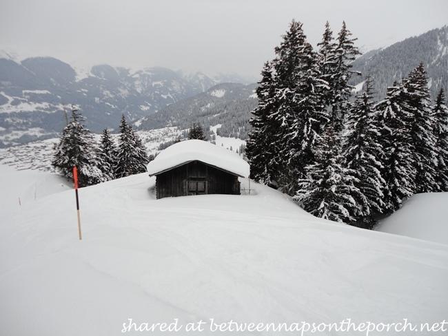 Ski cabin in Switzerland in winter