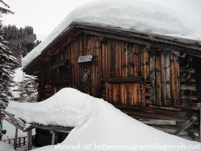 Ski cabin in Switzerland in winter