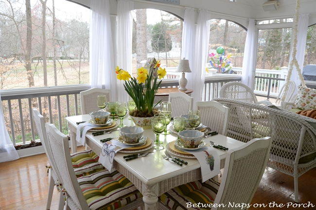 Springtime Table Setting Tablscape with Daffodil Centerpiece