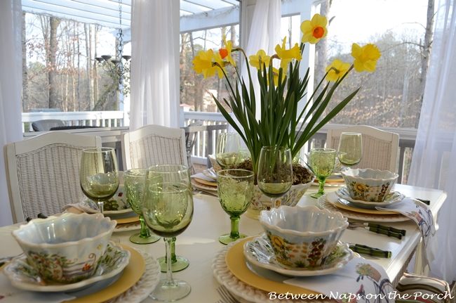 Springtime Table Setting with Daffodil Centerpiece