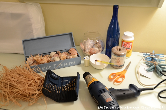 Supplies Needed to Decorate Bottle With Shells for Beachy Decor