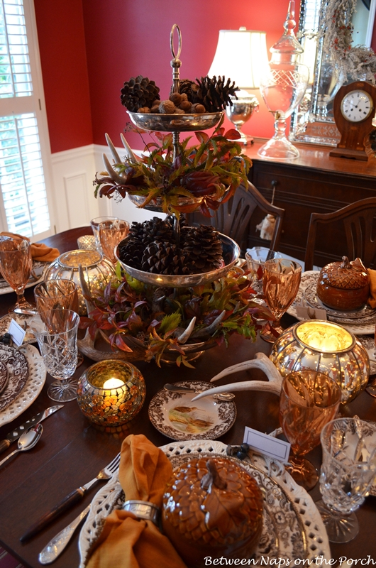 Thanksgiving Tables Setting with Natural Centerpiece