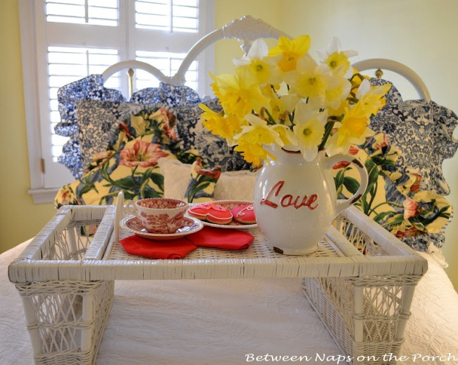 "Daffodils in a ""Love"" vase for Valentine's Day"