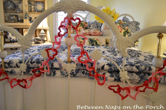 Valentine's Day Heart Garland on Foot of Bed