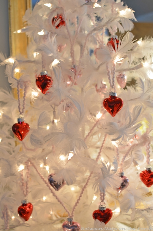 Valentine's Day Feather Tree Covered in Red and Pink Mercury Glass Hearts 2